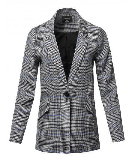 Women's Casual Long Sleeve Notched Collar Check Woven Blazer Jacket