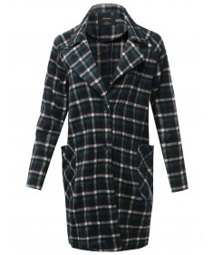 Women's Casual Long Sleeve Plaid Pattern Long Coat Jacket