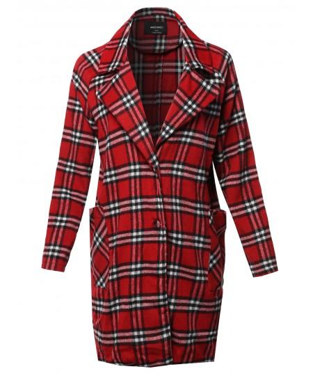Women's Casual Long Sleeve Plaid Pattern Long Coat Jacket