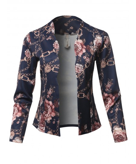 Women's Casual Cropped Fitted Blazer With Open Front Closure And Scalloped Detail