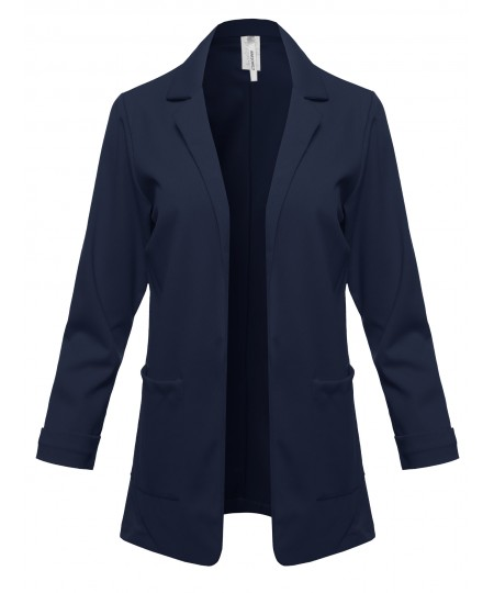 Women's Solid Classic Double Breasted Office Work Elegant Blazer