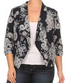Women's Plus Size Stretch Printed Shirring Sleeve Open Blazer Jacket