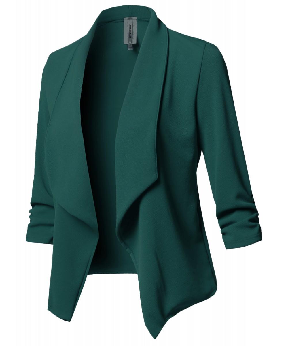 Women's Solid Stretch 3/4 Gathered Sleeve Open Blazer ...