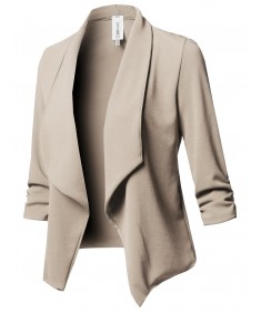 Women's Solid Stretch 3/4 Gathered Sleeve Open Blazer Jacket