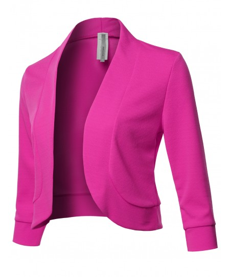 Women's Solid 3/4 Sleeves Open Front Bolero Blazer - Made In USA