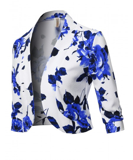 Women's Floral Print 3/4 Sleeves Open Front Bolero Blazer - Made in USA