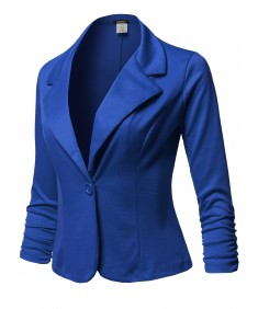 Women's Solid Formal Button Up Shirring Sleeves Blazer - Made in USA