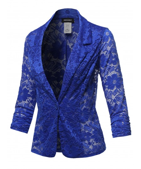 Women's Overall Lace Button Up Classic Blazer - Made in USA
