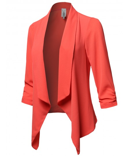 Women's Solid Lightweight 3/4 Ruched Sleeves Thin Cardigan Blazer