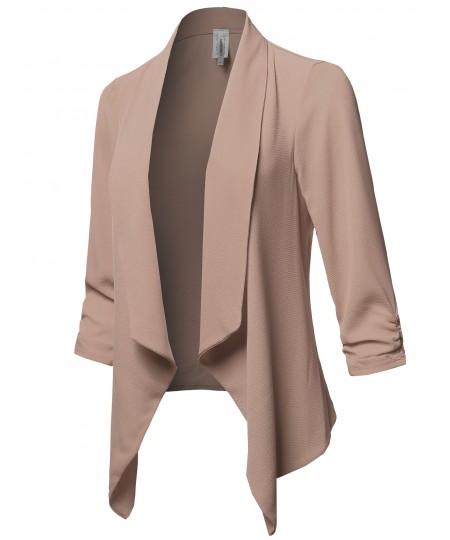 Women's Solid Lightweight 3/4 Ruched Sleeves Thin Cardigan Blazer