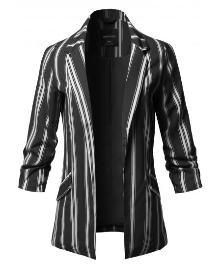 Women's Pinstripe 3/4 Sleeves Notched Collar Blazer Jacket