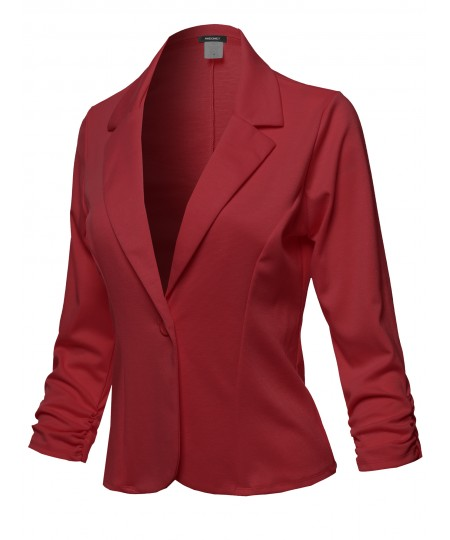 Women's Casual Solid One Button Classic Blazer Jacket - Made in USA