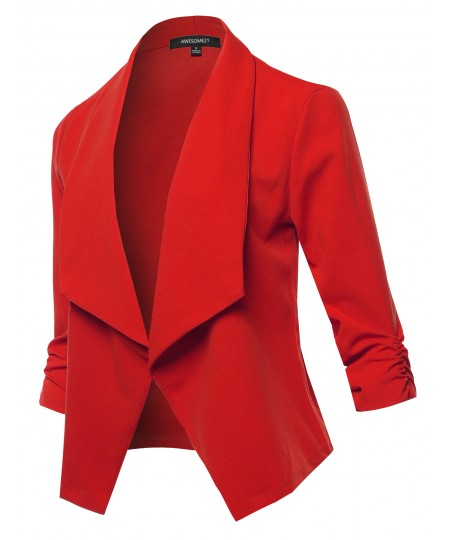 Women's Solid Open Front Draped Runched 3/4 Sleeve Casual Blazer