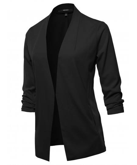 Women's Solid Open Front 3/4 Sleeve Blazer