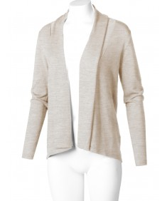 Women's Solid Soft Stretch Long Sleeve Shawl Open Front Knit Cardigan