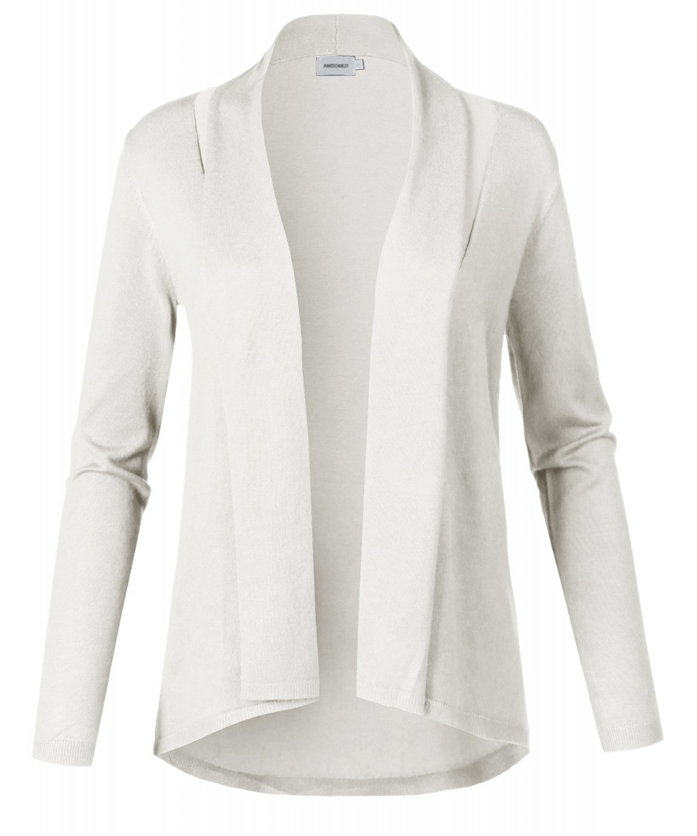 Women's Solid Soft Stretch Long Sleeve Shawl Open Front Knit ...