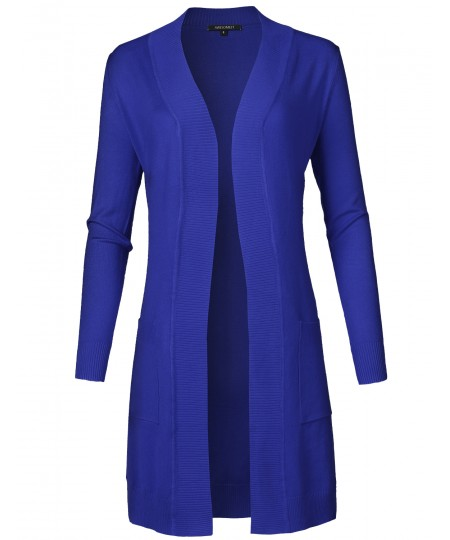 Women's Solid Soft Stretch Long-line Long Sleeve Open Front Knit Cardigan