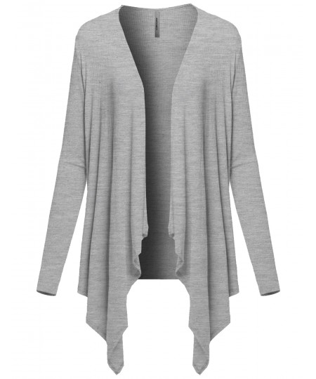 Women's Casual Solid Ribbed Open Front Long Sleeve Knit Cardigan
