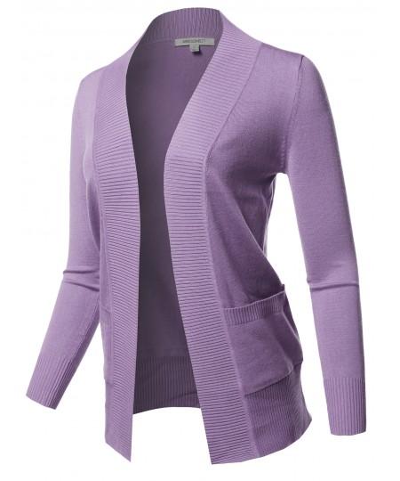 Women's Basic Long Sleeve Rib Banded Open Front Cardigan