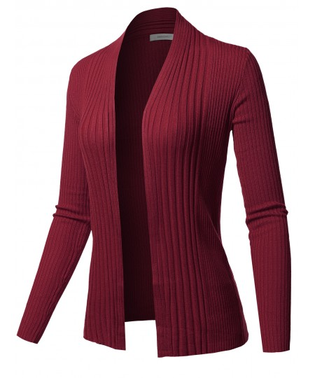 Women's Basic Long Sleeve Open Front Ribbed Viscose Knit Cardigan