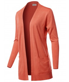 Women's Casual Solid Long Sleeves Long-Line Soft Sweater Viscose Knit Cardigan