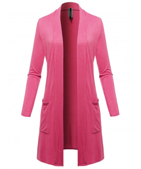 Women's Solid Open Front Long-Line Thin Cardigan - Made in USA
