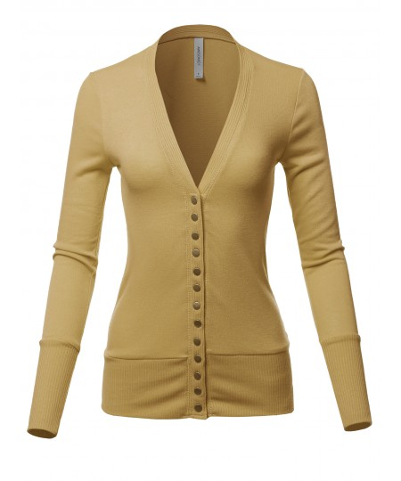 Women's Causal Snap Button Long Sleeves Everyday Cardigan