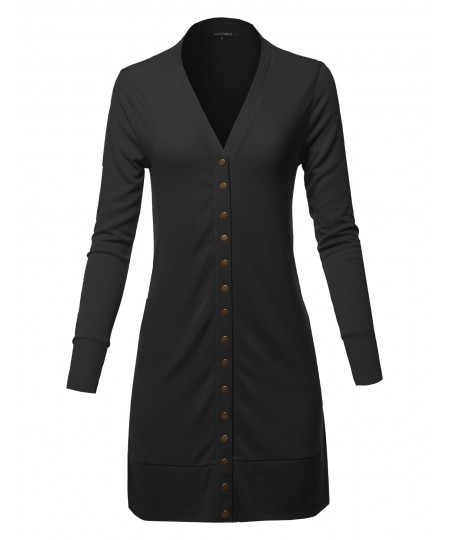 Women's Causal Snap Button Long Sleeves Everyday Long Cardigan