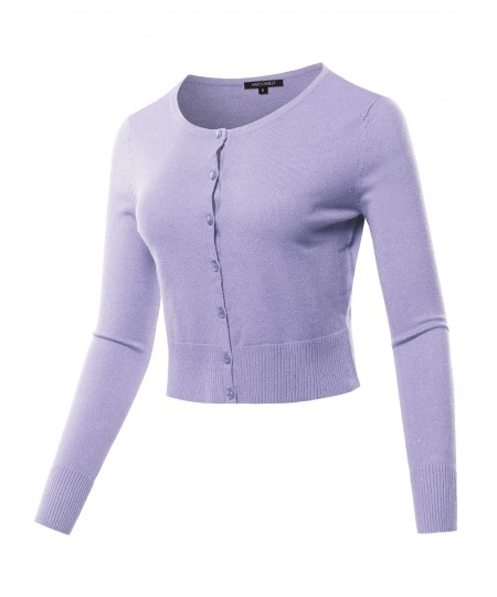 Women's Solid Button Closure Long Sleeve Cardigan