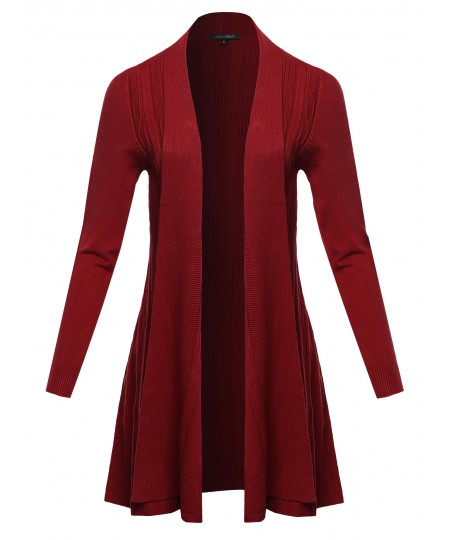 Women's Solid Boho Boyfriend Knit Cardigan Sweater