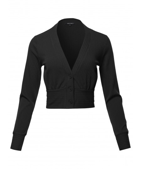 Women's Solid Button Down Cropped Cardigan