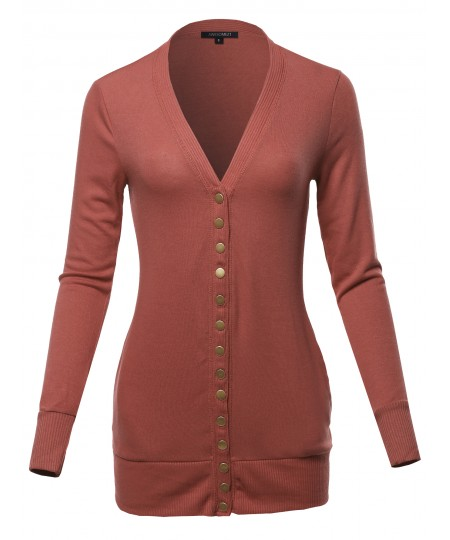 Women's Classic Snap Button Front V- Neck Knit Cardigan