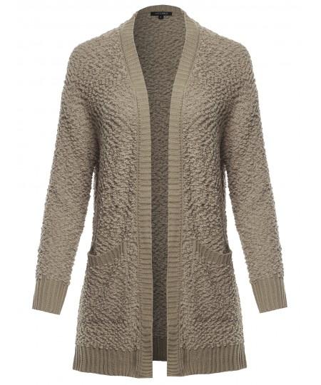 Women's Long Sleeve Soft Popcorn Knit Sweater Open Front Cardigan Outwear with Pockets