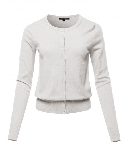 Women's Solid Long Sleeve Round Neck Button Down Sweater Cardigan