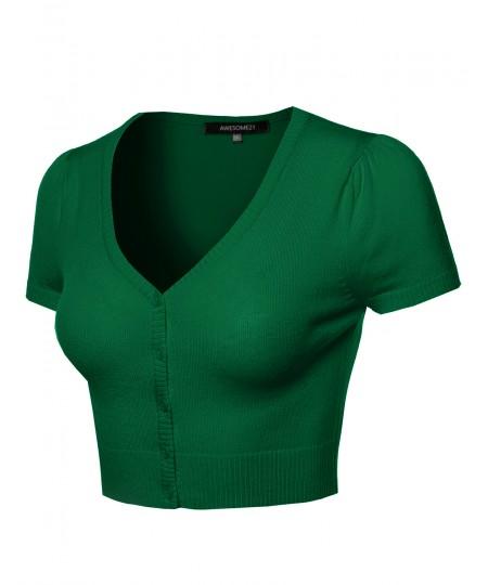 Women's Basic Solid V-Neck Bolero Shrug Cropped Cardigan