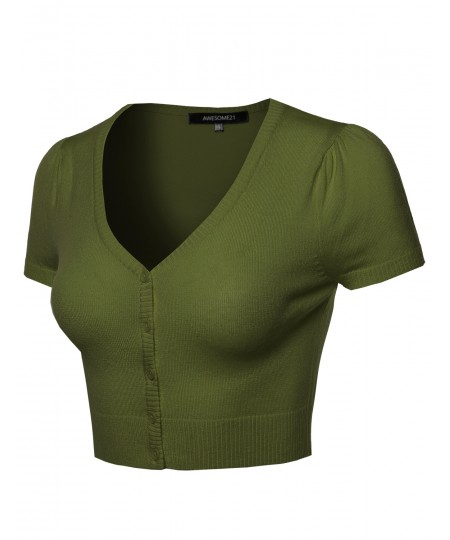 Women's Basic Solid V-Neck Bolero Shrug Cropped Cardigan