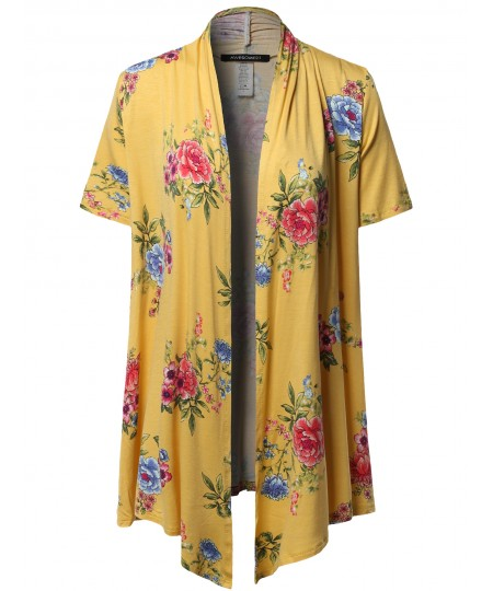 Women's Open Front Short Sleeves Floral Print Cardigan - Made in USA
