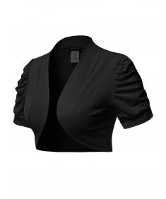 Women's Solid Short Sleeves Open Front Bolero Shrug Cardigan - Made in USA