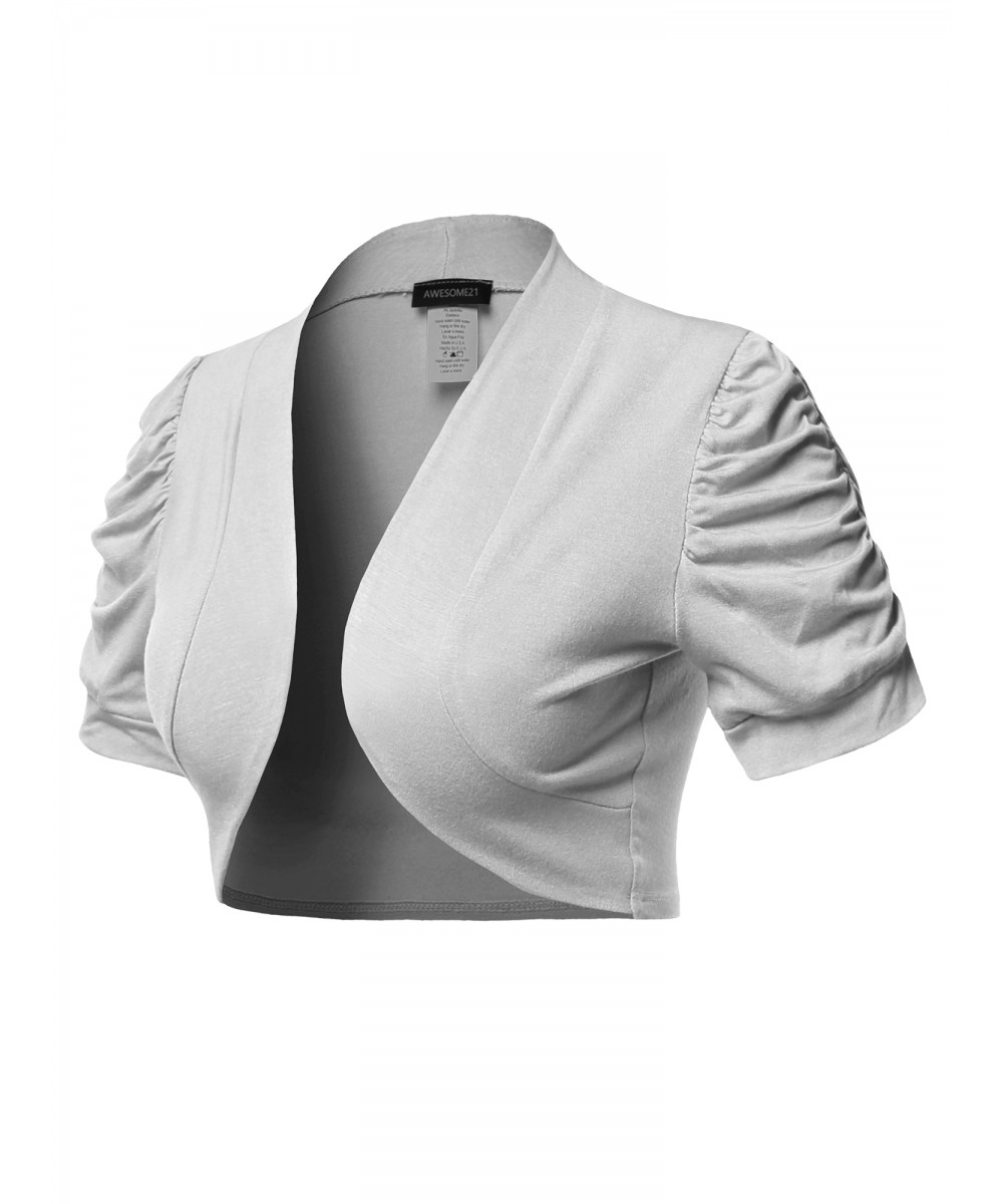5c78ca44d2af6 Women's Solid Short Sleeves Open Front Bolero Shrug Cardigan - Made in USA