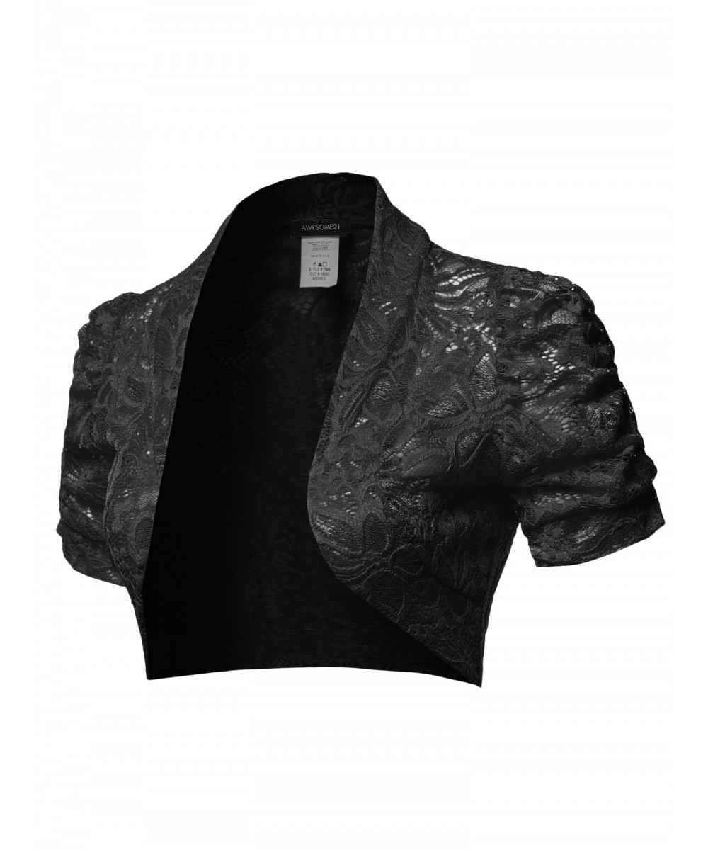 Women s Overall Lace Open Front Bolero Shrug Cardigan - Made in USA ... 6370033e5