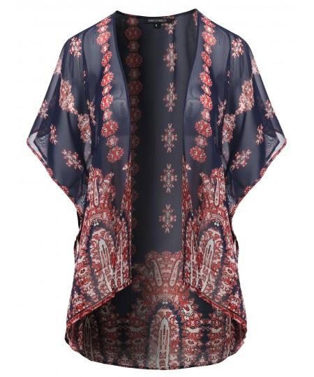 Women's Floral Print Chiffon Kimono Style Cardigan
