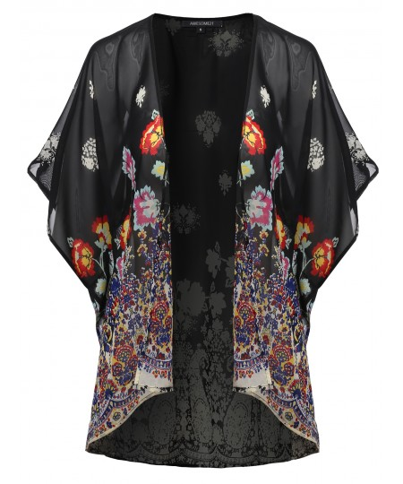 Women's Floral Print Chiffon Japanese Kimono Style Cardigan