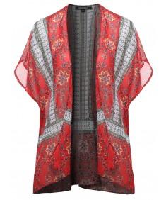 Women's Floral Aztec Print Kimono Style Chiffon Cardigan