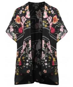 Women's Floral Print Kimono Style Chiffon Cardigan