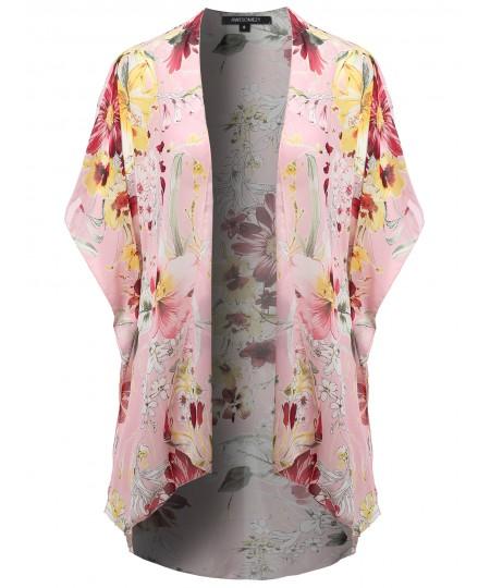 Women's Floral Print Kimono Style Chiffon Long Cardigan