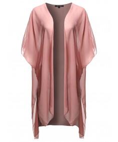 Women's Solid Kimono Long Cardigan Shrug Top