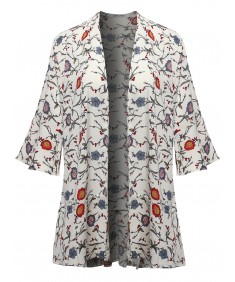 Women's Floral Print Kimono Style Open Front Cardigan