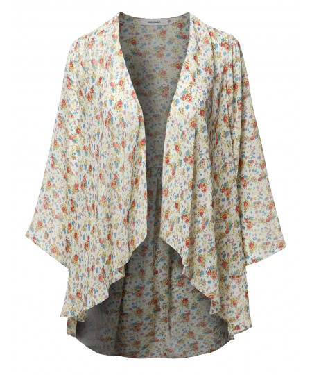 Women's Floral Print Kimono Style Bell Sleeve Cardigan