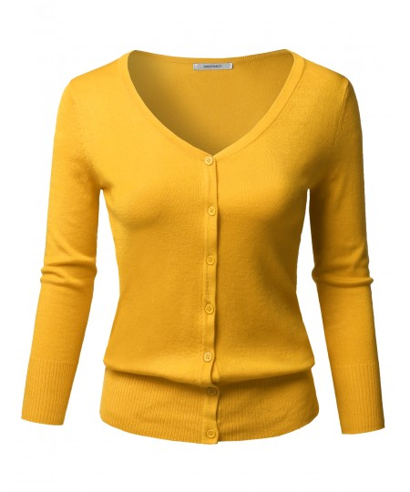 Women's Solid Button Down V-Neck 3/4 Sleeves Knit Cardigan