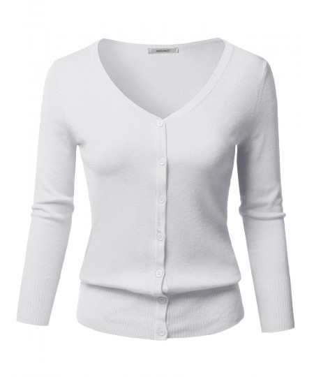 4a3f2cf8d4 Women s Solid Button Down V-Neck 3 4 Sleeves Knit Cardigan ...